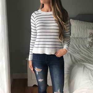 MADEWELL Crochet White And Blue Striped Sweater